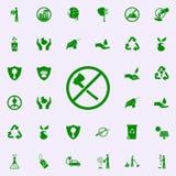 proibição em reduzir o ícone verde das árvores grupo universal dos ícones de Greenpeace para a Web e o móbil ilustração royalty free