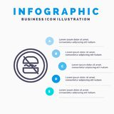 Proibição, proibida, dieta, fazendo dieta, linha rápida ícone com fundo do infographics da apresentação de 5 etapas ilustração stock