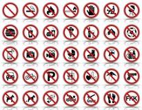 Proibição 35 & sinais de aviso - Iconset ilustração stock
