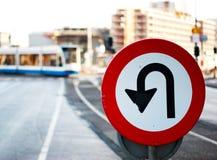 Proibido para girar o sinal Imagem de Stock
