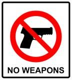 Proibindo o sinal para a arma Nenhum sinal da arma Ilustração do vetor Fotos de Stock