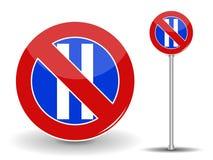 Proibire parcheggio Segnale stradale rosso e blu Illustrazione di vettore Fotografie Stock Libere da Diritti