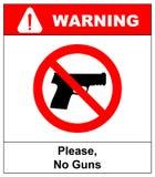 Proibire segno per la pistola Nessun segno della pistola Illustrazione di vettore Immagine Stock Libera da Diritti