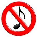 Proibizione di disturbo e di musica Immagini Stock