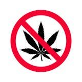 Proibizione rossa nessun segno delle droghe Nessun segno della marijuana illustrazione di stock