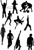 Proietti la vista dei motivi umani, gli sport, posizioni Fotografia Stock