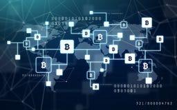 Proiezione della catena del blocchetto di Bitcoin fotografie stock