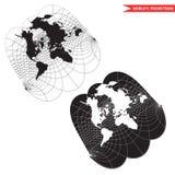 Projeção de mapa do mundo de Obliqe Imagem de Stock