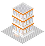 projeção isométrica de um edifício three-storey Fotografia de Stock Royalty Free