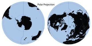 Projeção polar do mapa de mundo imagens de stock