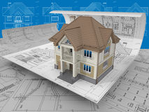 Project. 3D isometric view the residential house on architect drawing Royalty Free Stock Photo