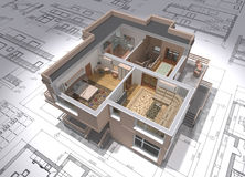 Project. 3D isometric view of the cut residential house on architect drawing Stock Photos