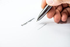Project approve sign background. Business concept project approve with pen background Stock Photography