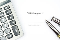 Project approve sign background. Business concept project approve with pen background Stock Photos