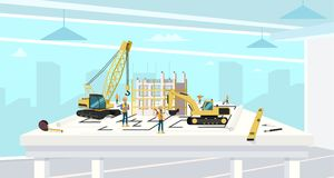 Project in Architect Office of Construction House. Cartoon Characters Working with Crane and Build Real Estate Housing. Builder and Engineer Job royalty free illustration