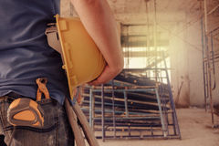 Project architects and engineers at a construction Stock Images