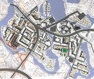 Project area of city. Streetmap of a generic city Royalty Free Stock Photography