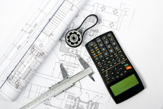 Project with caliper blueprint vertical Royalty Free Stock Photography