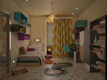Project of childre`s bedroom stock image