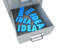 Project concept. One file drawer with an open drawer and some words on it (3d render Royalty Free Stock Images