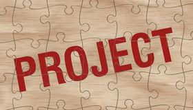 Project concept. Completed jigsaw puzzle that forms the word: project (3d render vector illustration