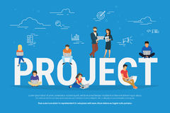 Project concept illustration of business people working together as team. Project teamwork concept illustration of business people using laptops. Manager Royalty Free Stock Photos
