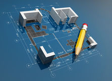 Project of construction. 3D illustration Royalty Free Stock Image