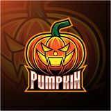 Halloween pumpkin mascot logo design vector illustration