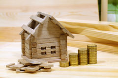 Project cozy house. Money for the building and details of the ne Royalty Free Stock Image