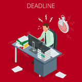 Project deadline. Concept of overworked man.. Man has burned out on his workplace because of many tasks and deadlines. Flat 3d vector isometric illustration Stock Photo