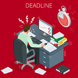 Project deadline. Concept of overworked man.. Man has burned out on his workplace because of many tasks and deadlines. Flat 3d vector isometric illustration Royalty Free Stock Photos