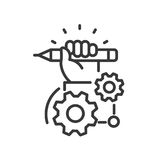 Project Development - modern vector line design icon. Project Development - modern vector single line design icon. An image depicting a hand holding a blue stock illustration