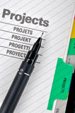 Project document and pen Stock Photo