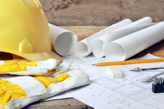 Project drawings. Heap of design and project drawings on table background royalty free stock images