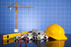Project drawings, building and cranes under construction Royalty Free Stock Photography