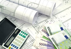 Project drawings and  money Royalty Free Stock Photos