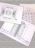 Project drawings of a residential house - plan, section, facade royalty free stock photography