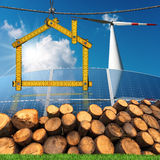 Project of Ecological House - Renewable Energies Stock Photo