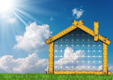 Project of Ecological House with Solar Panel Royalty Free Stock Photos