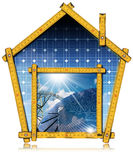 Project of Ecological House with Solar Panel Royalty Free Stock Photography