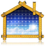 Project of Ecological House with Solar Panel Stock Photos