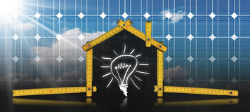 Project of Ecological House with Solar Panel Royalty Free Stock Photo