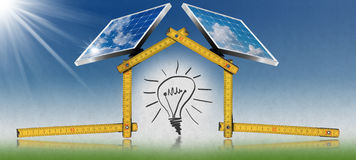 Project of Ecological House with Solar Panels Royalty Free Stock Images