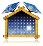 Project of Ecological House with Solar Panels Royalty Free Stock Image