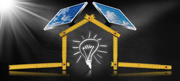 Project of Ecological House with Solar Panels Royalty Free Stock Photos