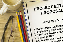 Project estimation and proposal. Concept- with cover sheet and topics Royalty Free Stock Image
