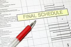 Project Final Schedule stock photo
