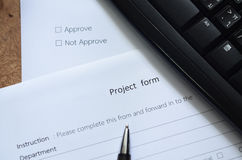 Project form Stock Image