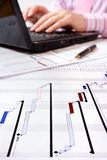 Project Gantt chart with laptop in background Stock Images