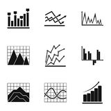 Project graph icons set, simple style. Project graph icons set. Simple set of 9 project graph vector icons for web isolated on white background Royalty Free Stock Images